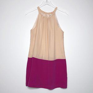 AMOUR VERT Silk Halter Tank Top Colorblock Blouse